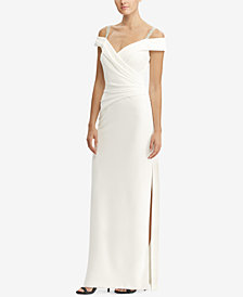 Lauren Ralph Lauren Ruched Off-The-Shoulder Gown