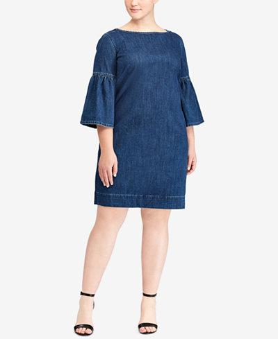 Lauren Ralph Lauren Plus Size Denim Bell-Sleeve Dress - Dresses ...
