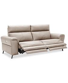"CLOSEOUT! Raymere 86"" 2-Pc. Leather Sectional Sofa With 2 Power Recliners, Power Headrests And USB Power Outlet, Created for Macy's"