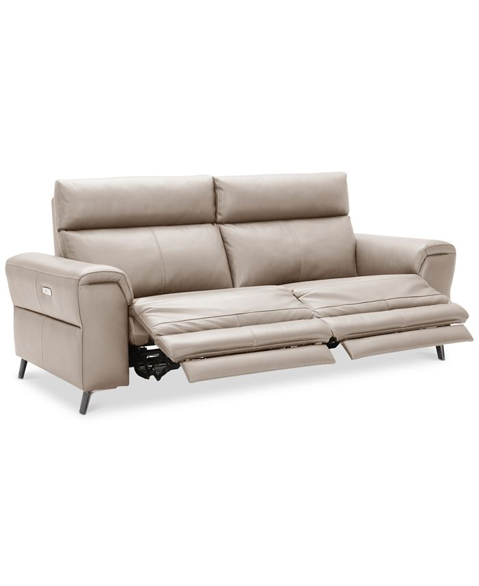 Furniture - Raymere 2-Pc. Leather Sectional Sofa With 2 Power Reclining Chairs, Power Headrests, And USB Power Outlet