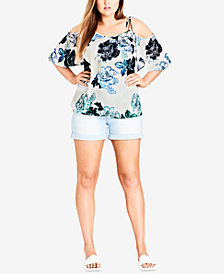 City Chic Trendy Plus Size Tie-Strap Cold-Shoulder Top