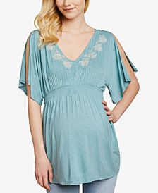 Jessica Simpson Maternity Flutter-Sleeve Babydoll Blouse