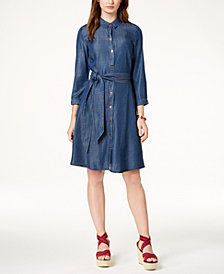 Tommy Hilfiger 3/4-Sleeve Chambray Shirtdress