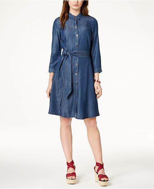 82c0ce44 Tommy Hilfiger 3/4-Sleeve Chambray Shirtdress & Reviews - Dresses ...
