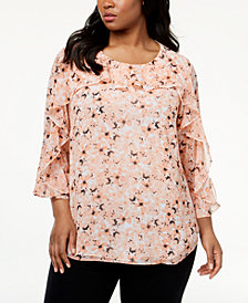 Calvin Klein Plus Size Printed Ruffled Top