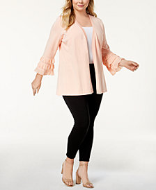 Calvin Klein Plus Size Ruffled Cardigan