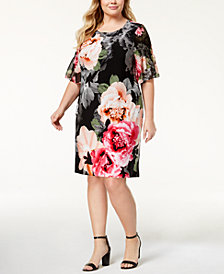 Calvin Klein Plus Size Ruched-Sleeve Dress