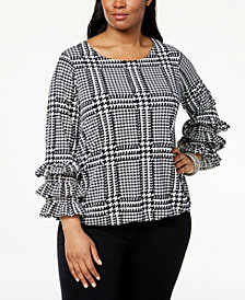 Alfani Plus Size Ruffled Bubble-Hem Top, Created for Macy's