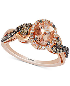 Le Vian Chocolatier® Peach Morganite™ (3/4 ct. t.w.) & Diamond (1/2 ct. t.w.) Ring in 14k Rose Gold