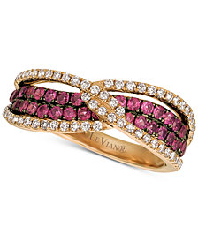 Le Vian® Raspberry Rhodolite® (3/4 ct. t.w.) & Diamond (1/3 ct. t.w.) Ring in 14k Rose Gold