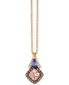 "Le Vian Chocolatier® Multi-Gemstone (7/8 ct. t.w.) & Diamond (1/5 ct. t.w.) 18"" Pendant Necklace in 14k Rose Gold"