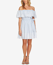 CeCe Embroidered Off-The-Shoulder Flounce Dress