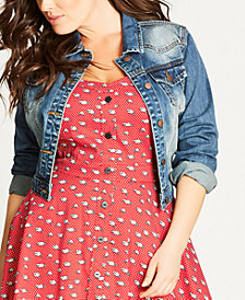 City Chic Trendy Plus Size Cropped Denim Jacket