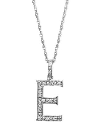 14k white gold necklace diamond accent letter e