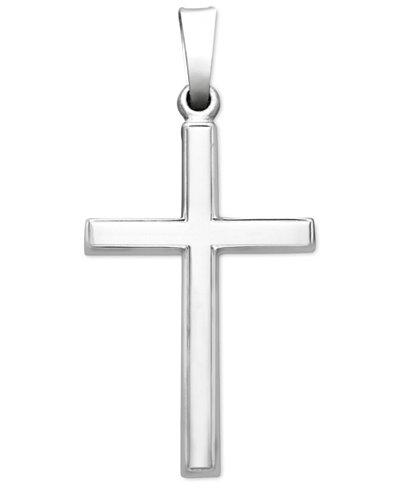 14k White Gold Pendant, Traditional Cross