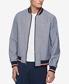 Tommy Hilfiger Men's Chambray Full-Zip Varsity Bomber Jacket