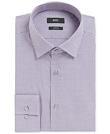 BOSS Men's Slim-Fit Checked Cotton Dress Shirt