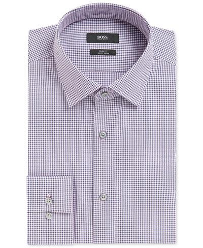 BOSS Men's Slim-Fit Checked Cotton Dress Shirt