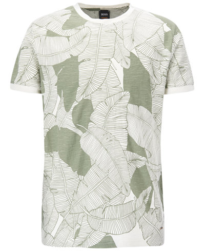 BOSS Men's Leaf-Print Cotton T-Shirt