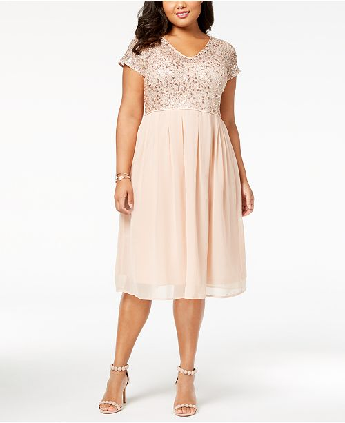 Adrianna Papell Plus Size Beaded A Line Dress Dresses Women Macys