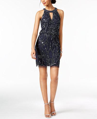 Adrianna Papell Beaded Keyhole Dress