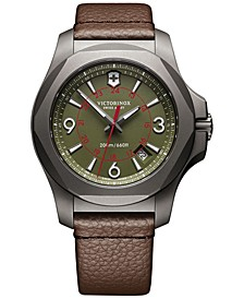 Men's Swiss I.N.O.X. Brown Leather Strap Watch 43mm