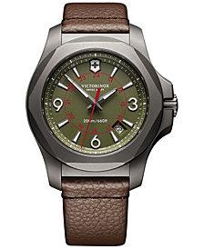 Victorinox Swiss Army Men's Swiss I.N.O.X. Brown Leather Strap Watch 43mm