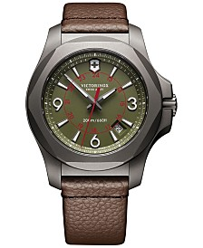 Victorinox Swiss Army Men's Swiss I.N.O.X. Brown Leather Strap Watch 43mm