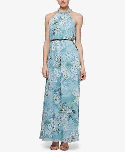 SL Fashions Belted Floral-Print Maxi Dress