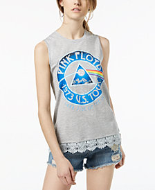 Love Tribe Juniors' Pink Floyd Lace-Trimmed Graphic Tank Top
