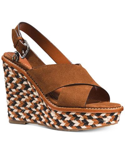 COACH Cross Band Wedge Sandals