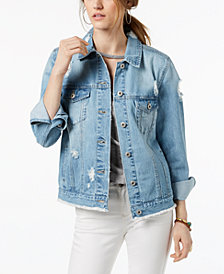 American Rag Juniors' Cotton Ripped Denim Jacket, Created for Macy's
