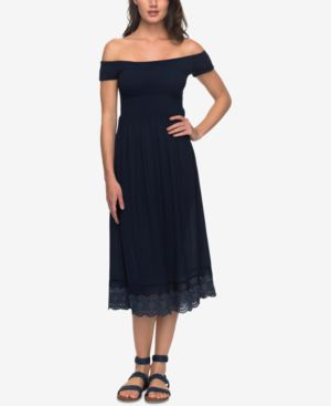 JUNIORS' OFF-THE-SHOULDER MIDI DRESS