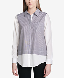 Calvin Klein Striped Layered-Look Button-Up Shirt