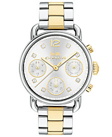 COACH Women's Chronograph Delancey Sport Two-Tone Stainless Steel Bracelet Watch 36mm