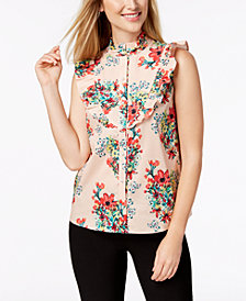 Monteau Petite Printed Ruffled Button-Front Top, Created for Macy's