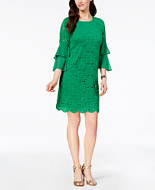Alfani Ruffled-Sleeve Lace Shift Dress, Created for Macy's