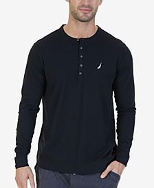 Men's Soft, Breathable Long Sleeve Henley Pajama Shirt