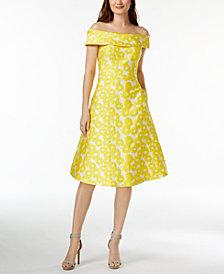 Calvin Klein Off-The-Shoulder Sunflower Brocade Dress