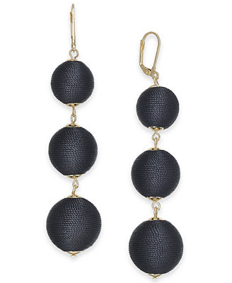 I.N.C. Gold Tone Wrapped Ball Triple Drop Earrings, Created For Macy's by Inc International Concepts