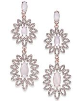 I.N.C. Rose Gold-Tone Pavé & Colored Stone Double Drop Earrings, Created for Macy's