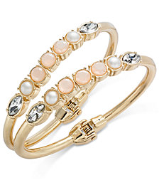 I.N.C. Gold-Tone 2-Pc. Set Stone & Crystal Bangle Bracelets, Created for Macy's