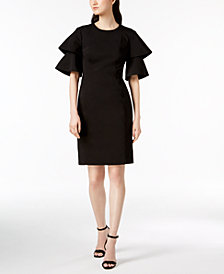 Calvin Klein Cotton Compression Ruffle Dress