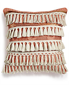 "Lacourte Banjara 20"" Square Tassel Sequin Decorative Pillow, Created for Macy's"