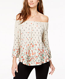 Style & Co Printed Off-The-Shoulder Flounce Top, Created for Macy's