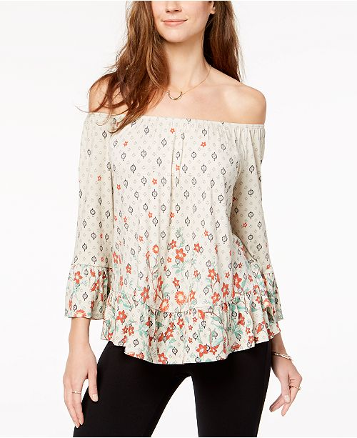 cf19b457a36599 ... Style   Co Printed Off-The-Shoulder Flounce Top