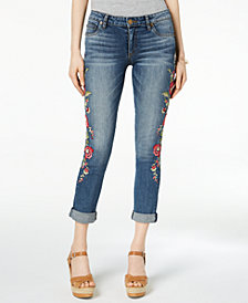 Kut from the Kloth Petite Catherine Embroidered Cuffed Boyfriend Jeans
