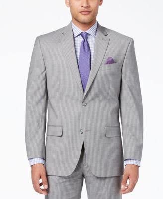 Men's Classic-Fit Stretch Gray Stripe Suit Jacket