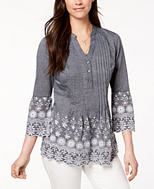 Style & Co Cotton Eyelet-Trim Blouse, Created for Macy's