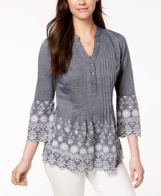 Style Co Cotton Eyelet Trim Blouse Created For Macy S Tops